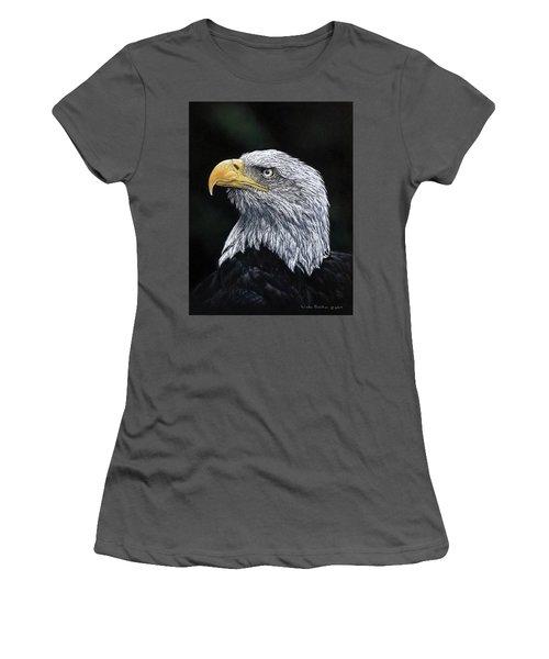 Bald Eagle Women's T-Shirt (Junior Cut) by Linda Becker