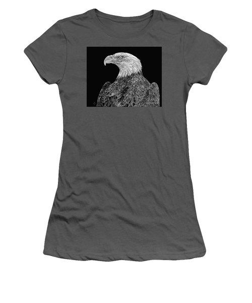 Bald Eagle Scratchboard Women's T-Shirt (Junior Cut) by Shevin Childers