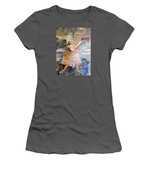 Women's T-Shirt (Junior Cut) featuring the painting Ballerina In Motion by Mary Haley-Rocks