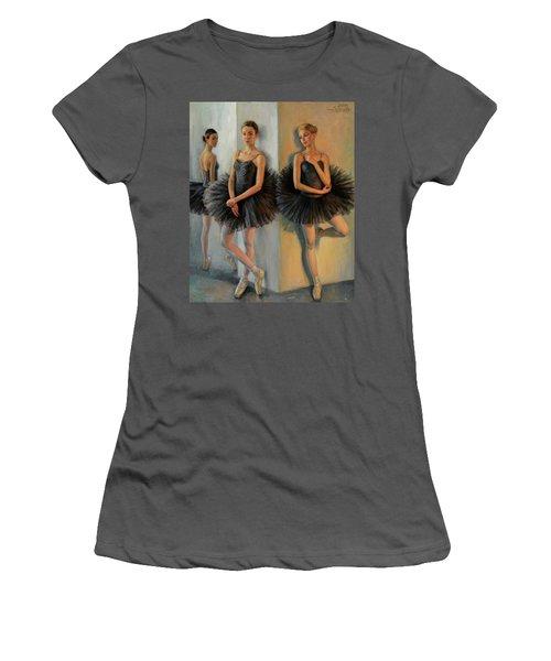 Ballerinas In Black Tutu Women's T-Shirt (Athletic Fit)