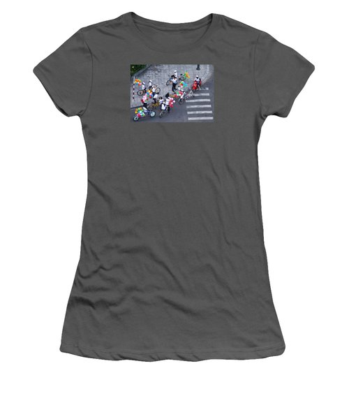 Balloons And Bikes Women's T-Shirt (Junior Cut) by Cameron Wood