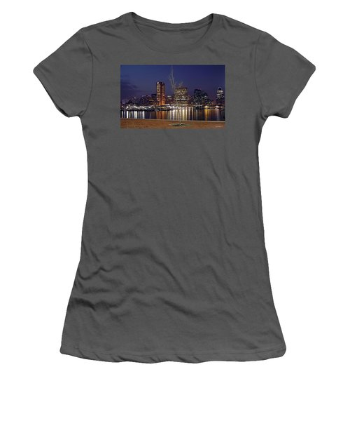 Women's T-Shirt (Junior Cut) featuring the photograph Baltimore Reflections by Brian Wallace