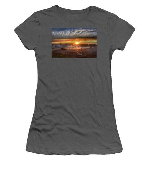 Women's T-Shirt (Junior Cut) featuring the photograph Bandon Sunset by Bonnie Bruno