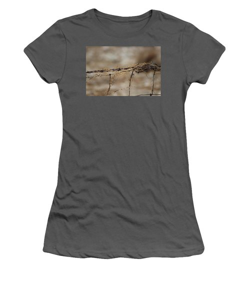 Barbed Wire Entwined With Dried Vine In Autumn Women's T-Shirt (Athletic Fit)