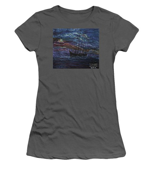Women's T-Shirt (Junior Cut) featuring the pastel Barco Negro- Tribute To Amalia Rodrigues by AmaS Art