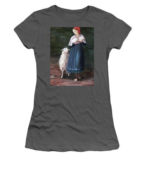 Barefoot Shepherdess Women's T-Shirt (Junior Cut) by Judy Kirouac