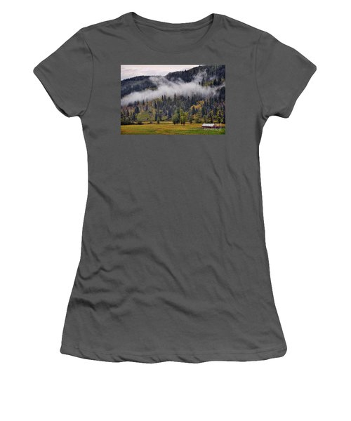 Barn In The Mist Women's T-Shirt (Athletic Fit)