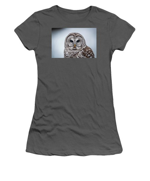 Women's T-Shirt (Junior Cut) featuring the photograph Barred Owl by Paul Freidlund