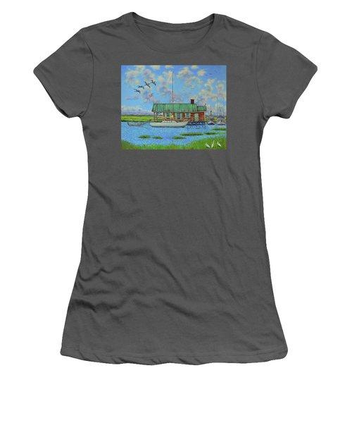 Barriar Island Boathouse Women's T-Shirt (Junior Cut) by Dwain Ray