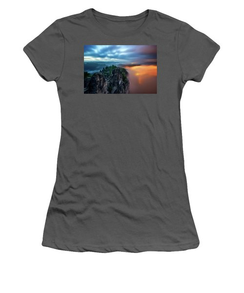 Bastei Bridge Night View, Saxon Switzerland, Germany Women's T-Shirt (Athletic Fit)