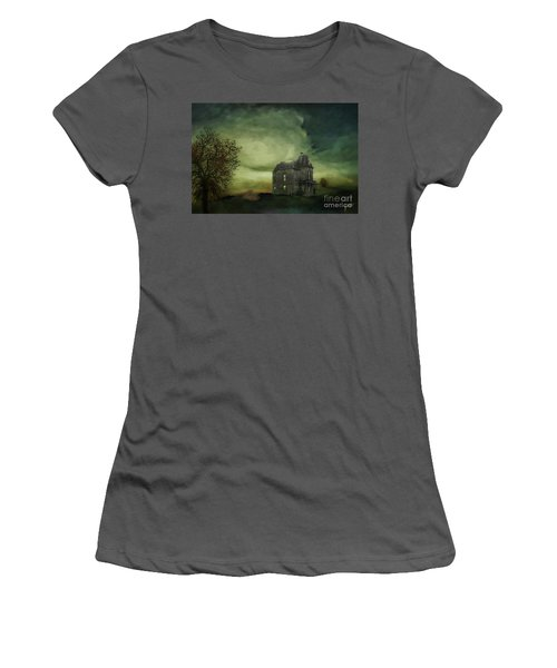 Women's T-Shirt (Junior Cut) featuring the mixed media Bates Residence by Jim  Hatch