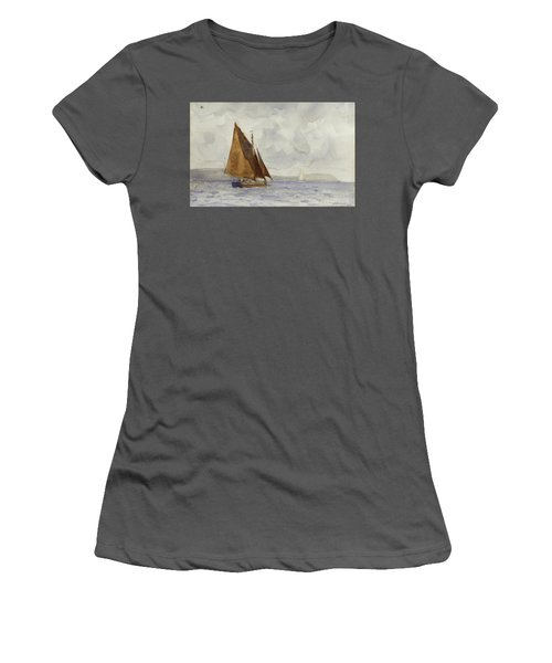 Women's T-Shirt (Junior Cut) featuring the painting Bawley Running Up The Coast by Henry Scott Tuke