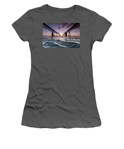 Bay Bridge Twilight Women's T-Shirt (Junior Cut)
