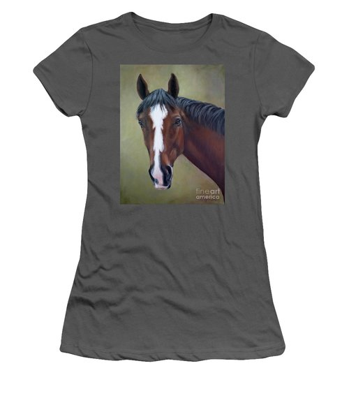 Bay Thoroughbred Horse Portrait Ottb Women's T-Shirt (Athletic Fit)