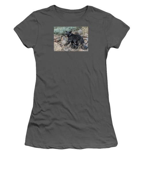 Women's T-Shirt (Junior Cut) featuring the photograph Bear Cub Walking by Stephen  Johnson