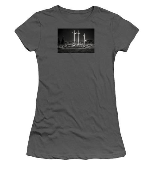 Women's T-Shirt (Junior Cut) featuring the photograph Bearing Witness In Black-and-white 2 by Andy Crawford