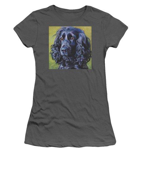 Women's T-Shirt (Junior Cut) featuring the painting Beautiful Black English Cocker Spaniel by Lee Ann Shepard