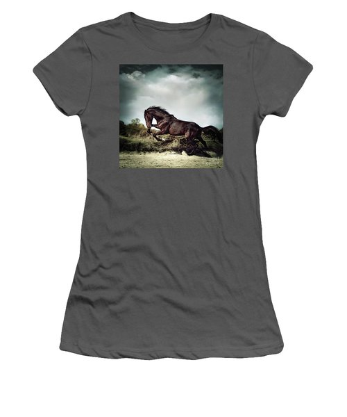 Beautiful Black Stallion Horse Running On The Stormy Sky Women's T-Shirt (Athletic Fit)