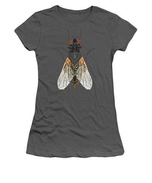 Bedazzled Housefly Transparent Background Women's T-Shirt (Athletic Fit)