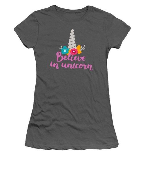 Believe In Unicorn Women's T-Shirt (Junior Cut) by Edward Fielding
