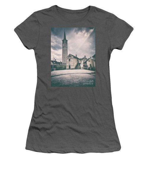 Women's T-Shirt (Athletic Fit) featuring the photograph Bell Tower In Italian Village by Silvia Ganora