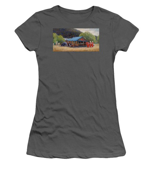 Women's T-Shirt (Junior Cut) featuring the painting Below Taos 2 by Donelli  DiMaria