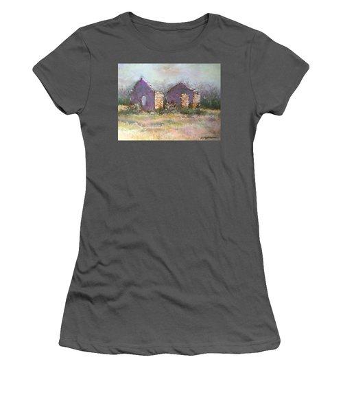 Women's T-Shirt (Junior Cut) featuring the pastel Bethel School At Sunset by Rebecca Matthews