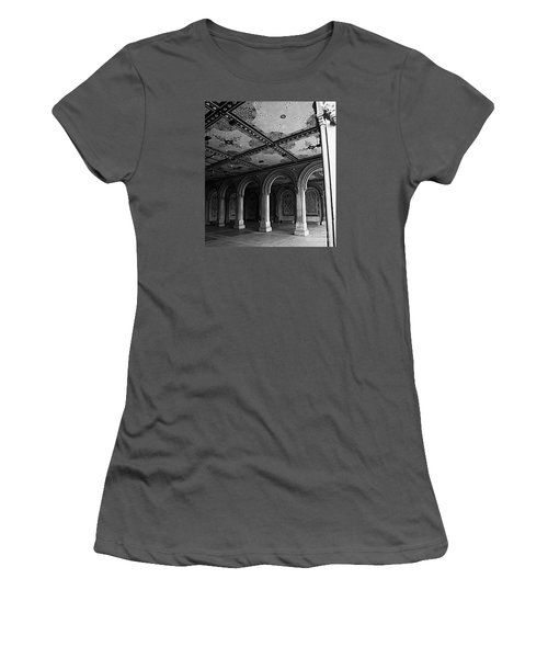 Bethesda Terrace Arcade In Central Park - Bw Women's T-Shirt (Athletic Fit)