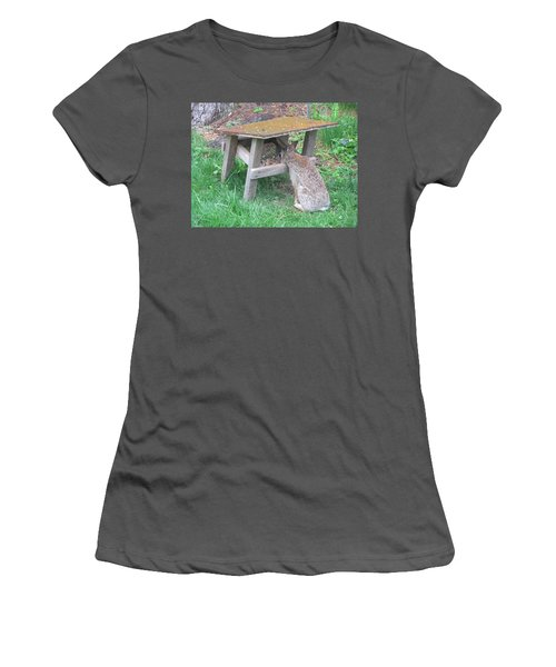 Big Eyed Rabbit Eating Birdseed Women's T-Shirt (Junior Cut) by Betty Pieper