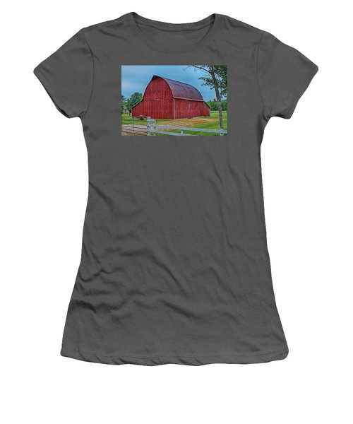 Women's T-Shirt (Junior Cut) featuring the photograph Big Red Barn At Cross Village by Bill Gallagher