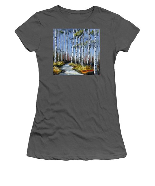Birch Tree Path Women's T-Shirt (Junior Cut) by Trina Teele