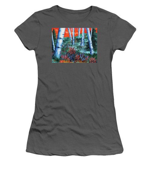 Women's T-Shirt (Junior Cut) featuring the painting Birch Trees At Sunset by Curtiss Shaffer