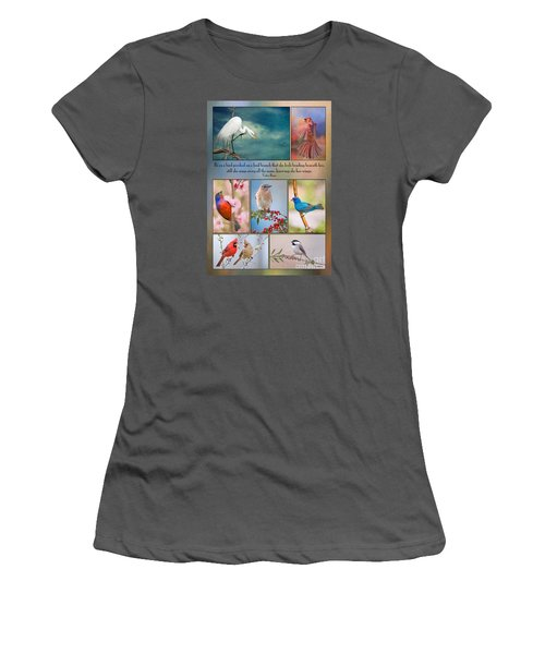 Bird Collage With Motivational Quote Women's T-Shirt (Junior Cut) by Bonnie Barry