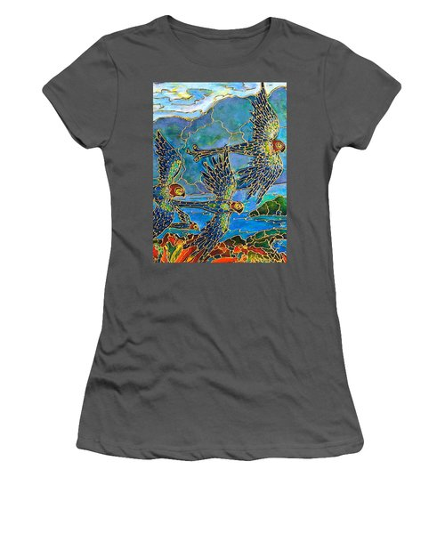 Women's T-Shirt (Junior Cut) featuring the painting Birds Of Paradise by Rae Chichilnitsky