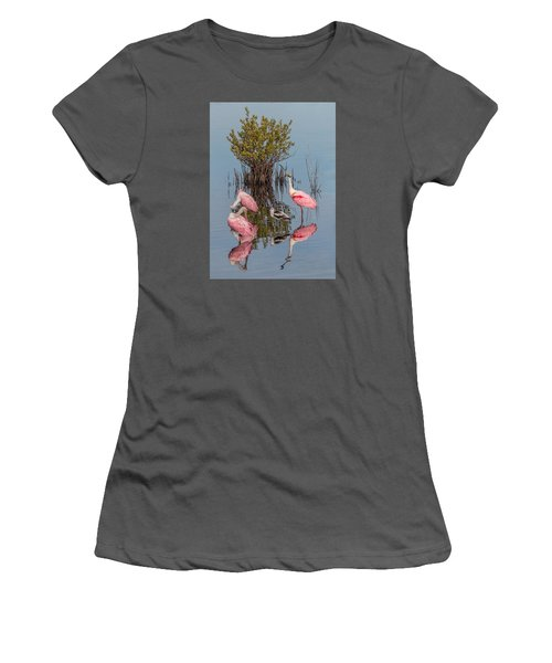 Birds, Reflections, And Mangrove Bush Women's T-Shirt (Athletic Fit)