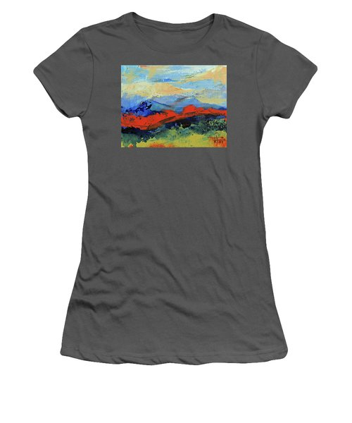 Women's T-Shirt (Athletic Fit) featuring the painting Bishop Mountains - Fall 2016 by Walter Fahmy