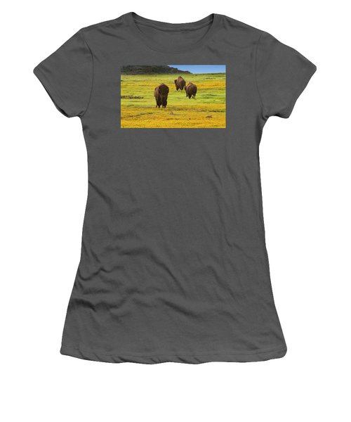 Bison In Wildflowers Women's T-Shirt (Athletic Fit)