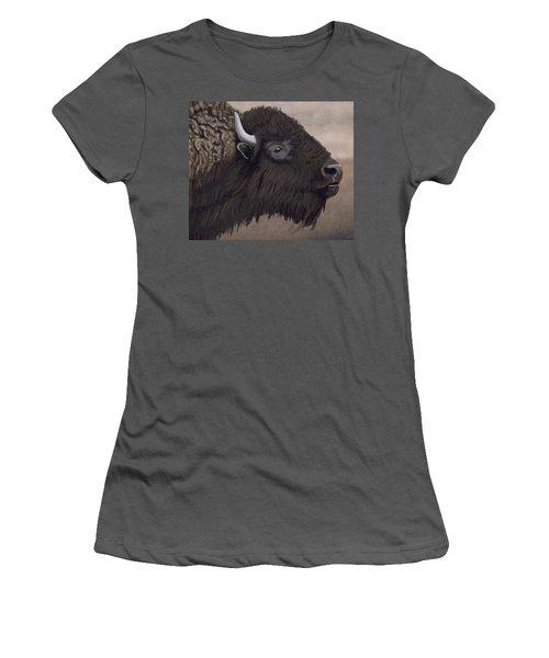 Bison Women's T-Shirt (Junior Cut) by Jacqueline Barden