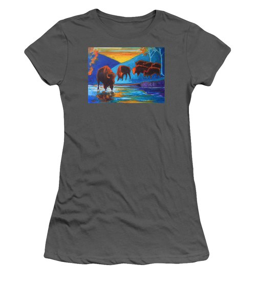 Women's T-Shirt (Junior Cut) featuring the painting Bison Turquoise Hill Sunset Acrylic And Ink Painting Bertram Poole by Thomas Bertram POOLE