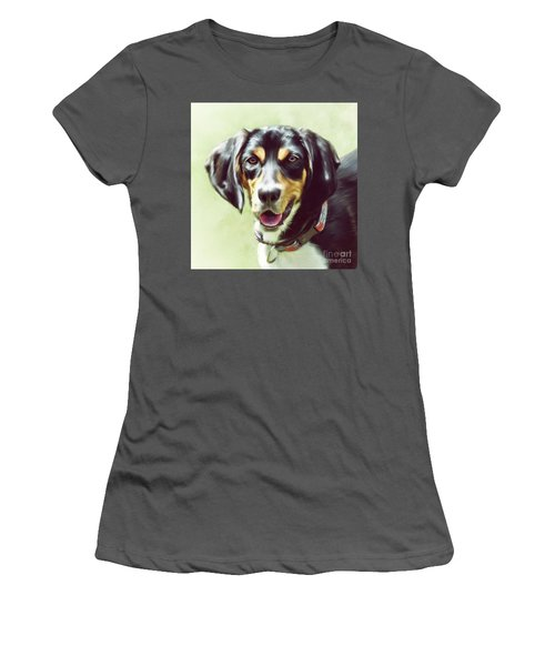 Women's T-Shirt (Athletic Fit) featuring the digital art Black And Tan by Lois Bryan