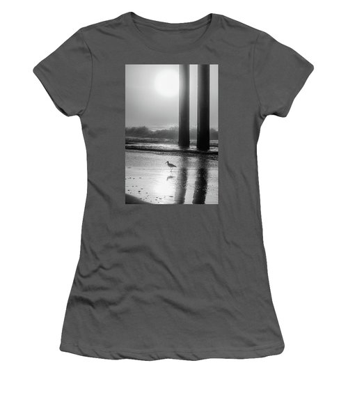 Women's T-Shirt (Junior Cut) featuring the photograph Black And White Bird Beach by John McGraw