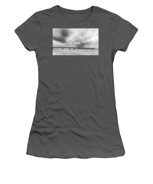 Women's T-Shirt (Junior Cut) featuring the photograph Black And White Mackinac Bridge Winter by John McGraw