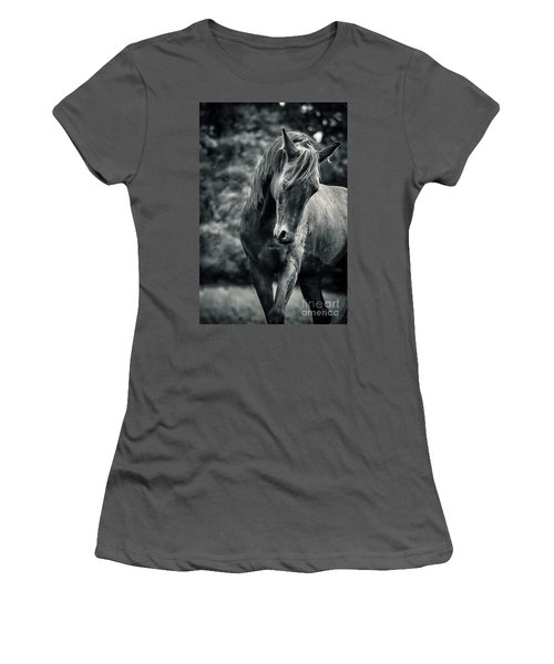 Black And White Portrait Of Horse Women's T-Shirt (Athletic Fit)