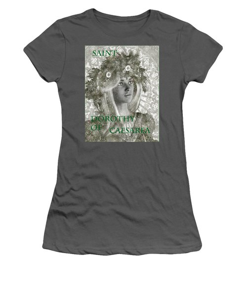 Women's T-Shirt (Junior Cut) featuring the painting Black And White Saint Dorothy by Suzanne Silvir
