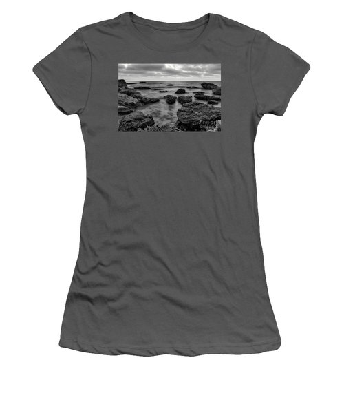 Black And White Sunset At Low Tide Women's T-Shirt (Athletic Fit)