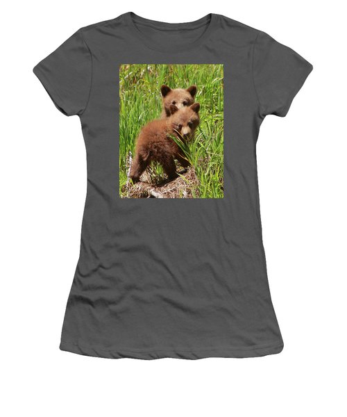 Black Bear Cubs Women's T-Shirt (Athletic Fit)