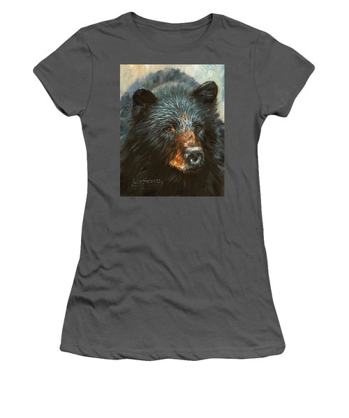 Women's T-Shirt (Junior Cut) featuring the painting Black Bear by David Stribbling