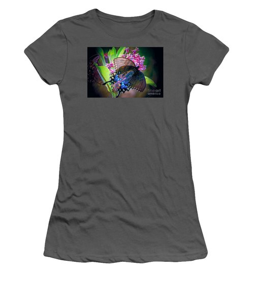 Black Blue Butterfly Women's T-Shirt (Athletic Fit)