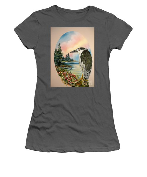Black Crowned Heron Women's T-Shirt (Junior Cut) by Sigrid Tune