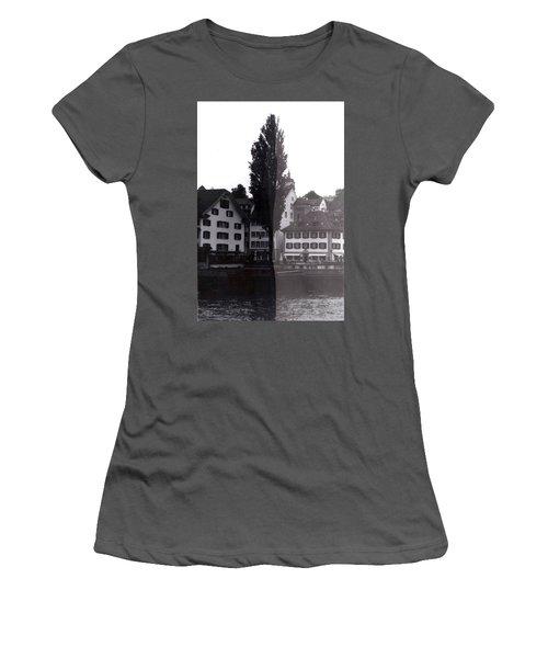 Black Lucerne Women's T-Shirt (Junior Cut) by Christian Eberli